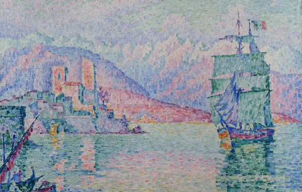 Picture ship, picture, sail, seascape, Paul Signac, pointillism, Antibes. The evening
