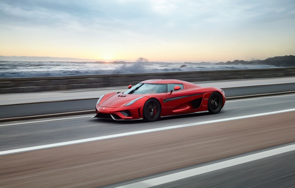 Photo wallpaper Regera, sunset, Koenigsegg, hypercar, sea, supercar, speed, red