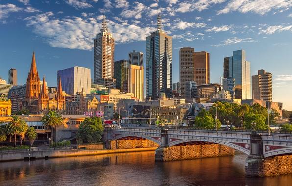 Picture bridge, river, building, Australia, skyscrapers, Melbourne, Yarra River, Australia, Melbourne, the Yarra river, Princes Bridge