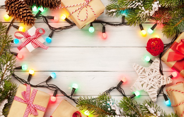 Picture New Year, Christmas, christmas, garland, balls, merry christmas, gift, decoration, xmas