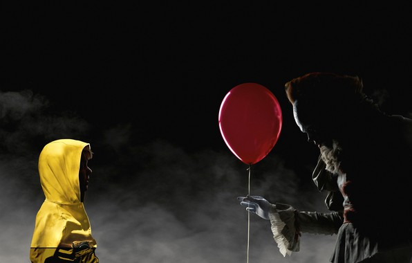 Picture night, red, fog, ball, clown, jacket, hood, air, yellow, poster, child, horror, Bill Skarsgård, It, ...