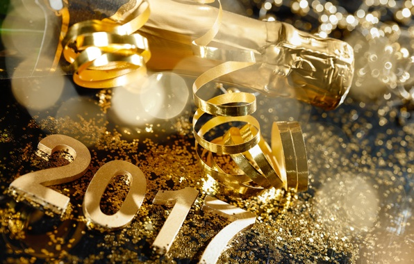 Picture New Year, gold, new year, champagne, happy, serpentine, champagne, 2017