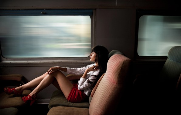 Picture girl, Windows, train, legs, Chelsea Elisha, Max Eremine