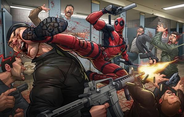 Picture weapons, mask, costume, blow, villain, art, mercenary, deadpool, marvel comics, Patrick Brown, Wade Wilson, PatrickBrown