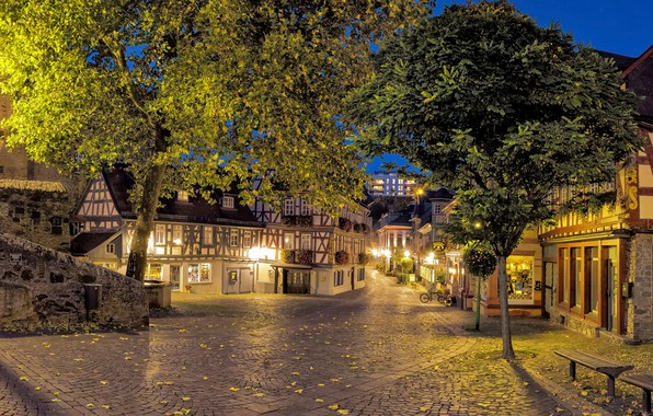 Picture leaves, trees, lights, street, home, the evening, Germany, lights, benches, Hesse, Idstein