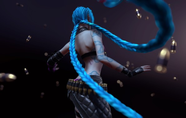Picture game, long hair, blue, tatoo, League of Legends, LOL, bishojo, ammunition, Jin
