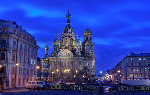 Picture the sky, lights, home, the evening, lights, Saint Petersburg, Church, channel, temple, Russia, bridges