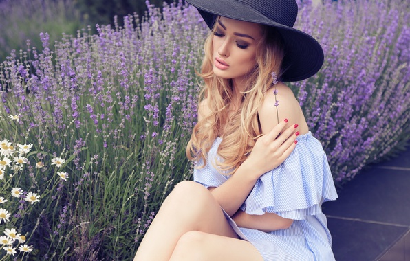 Picture girl, flowers, pose, model, hand, makeup, blonde, hat, sitting, lavender, manicure