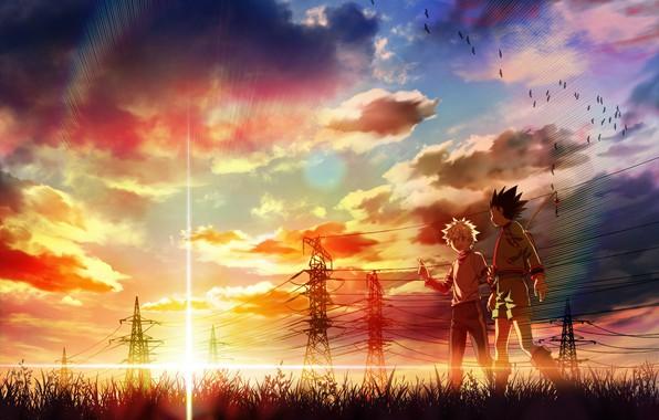 Picture sunset, anime, art, friends, Hunter x Hunter, Gon, Killua