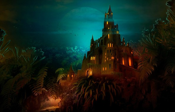 Picture night, castle, Lilliput castle at night
