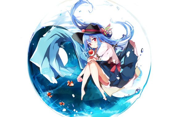 Picture Water, Fish, Girl, Touhou, Touhou