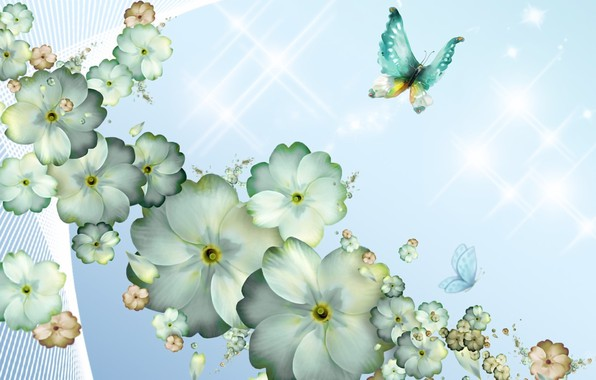 Picture butterfly, flowers, rendering, background, fantasy, collage, figure, spring, petals, picture