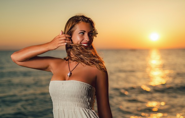 Picture sea, the sky, the sun, sunset, pose, smile, the wind, the evening, makeup, dress, horizon, ...
