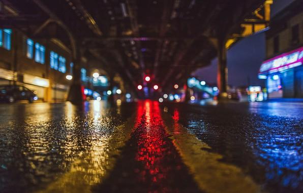 Picture city, the city, lights, lights, rain, night, bokeh, New-York, state rain the Bronx