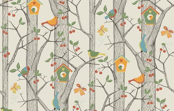 Picture forest, vector, art, birdhouse, bird, children's