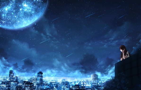 Picture girl, space, night, the city, fiction, planet, by CZY