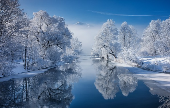 Picture snow, trees, mountains, reflection, river, Bayern