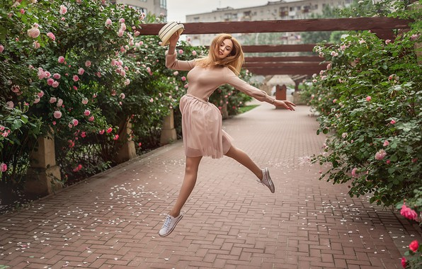 Picture girl, flowers, mood, jump, roses, dance, hat, red, redhead, the bushes, A Diakov George, Christina …