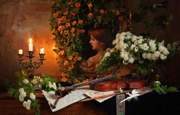 Picture flowers, violin, candle, picture, still life