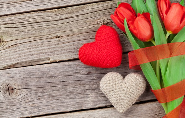 Picture love, flowers, gift, bouquet, hearts, tulips, red, love, wood, flowers, cup, romantic, hearts, tulips, Valentine's …