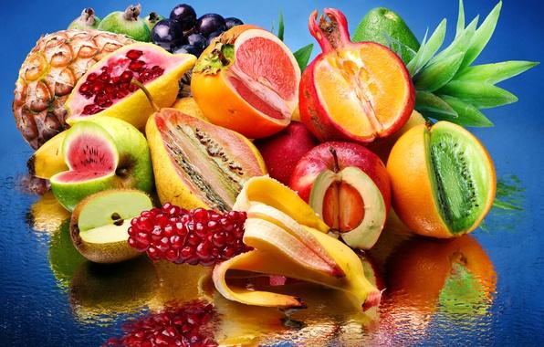 Picture water, reflection, lemon, Apple, orange, watermelon, kiwi, grapes, pear, fruit, pineapple, banana, garnet, avocado, persimmon, ...