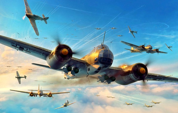 Picture Hurricane, Junkers, Battle of Britain, RAF, Air force, Artwork, Hawker, Fighter, WWII, Ju-88