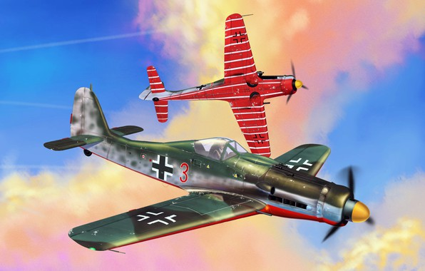Picture Germany, art, Luftwaffe, fighter-monoplane, The second world war., piston fighter, Focke -Wulf, JV44, Fw.190D-9
