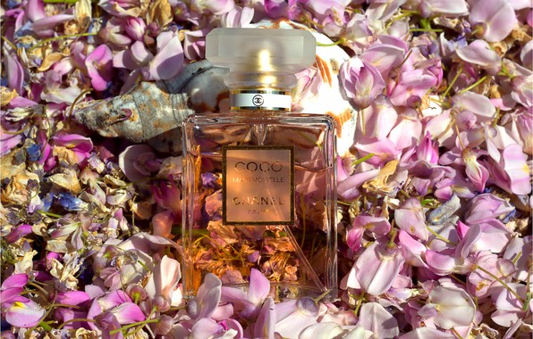 Picture perfume, petals, perfume, Chanel