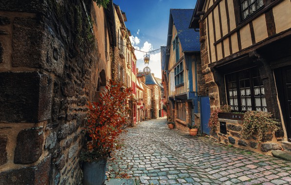Picture the city, street, France, home, bridge, Brittany, Dinan