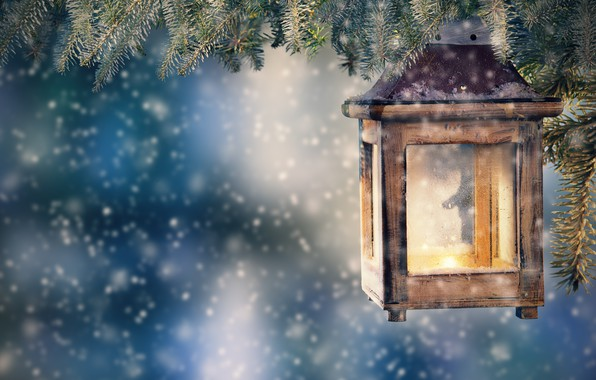 Picture snow, decoration, tree, New Year, Christmas, lantern, Christmas, snow, Merry Christmas, Xmas, decoration, candle, lantern, …