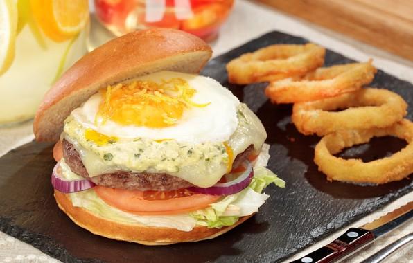 Picture egg, bow, vegetables, Burger
