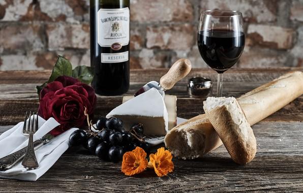 Picture wine, cheese, bread, grapes, baton