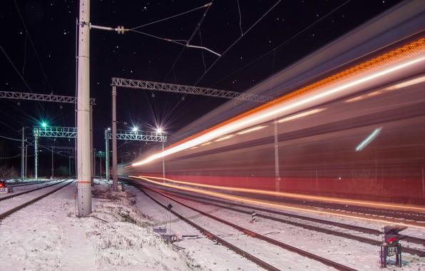 Picture stars, night, lights, wire, train, railroad