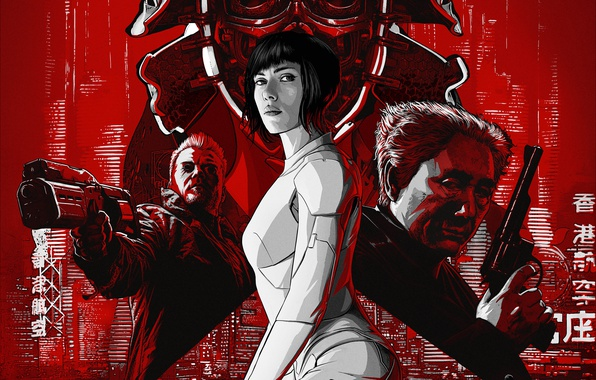 Picture fiction, Scarlett Johansson, art, Scarlett Johansson, action, poster, Ghost in the shell, Ghost in the …