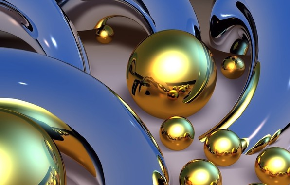 Picture line, abstraction, Wallpaper, Shine, curves, picture, blue background, Golden balls, metal mold, the reflection of ...
