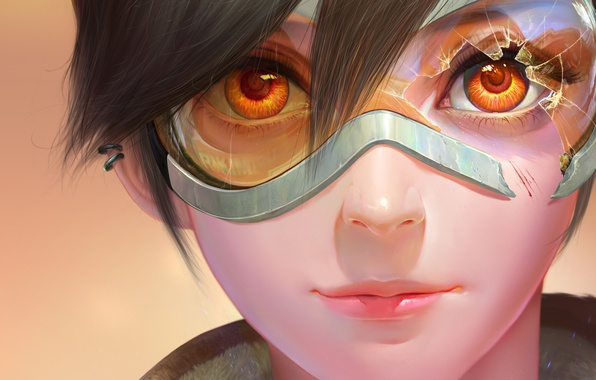 Picture eyes, look, girl, piercing, art, glasses, blizzard, art, Tracer, overwatch, lena oxton
