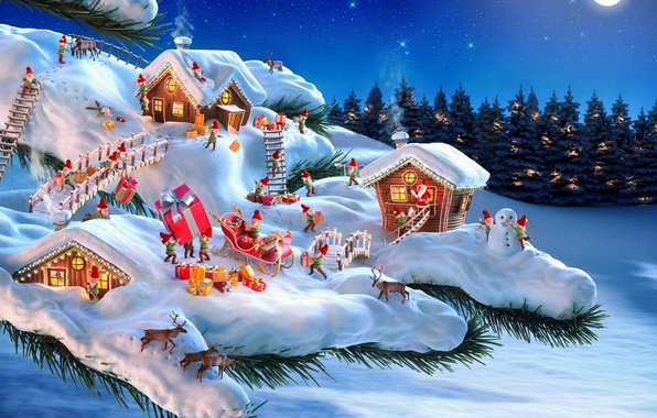 Picture winter, forest, snow, night, needles, bridge, holiday, home, branch, gifts, dwarves, sleigh