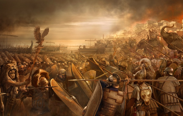 Picture sea, weapons, coast, art, battle, fortress, the battle, swords, elephants, shields, offensive, troops, spears, hats, …