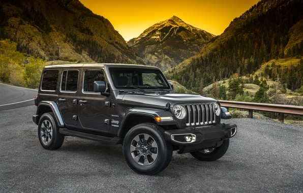 Picture road, forest, mountains, the fence, 2018, Jeep, dark gray, Wrangler Sahara