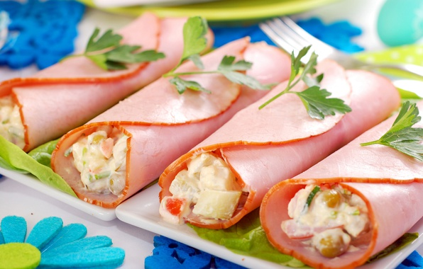 Picture filling, appetizer, ham, rolls