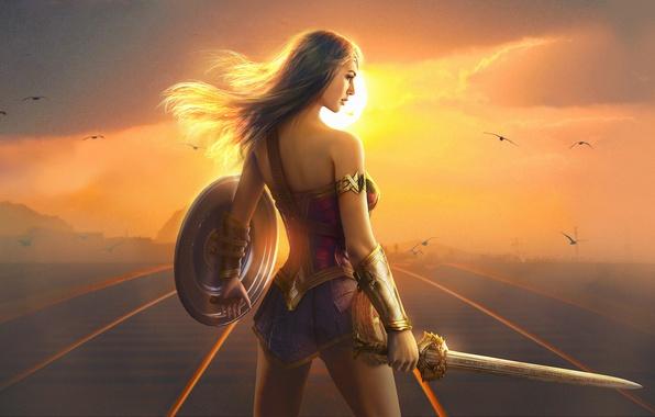 Picture Wonder Woman, fan art, DC comics, Gal Gadot