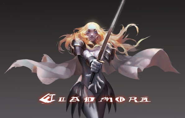 Picture sword, armor, red, blue eyes, cloak, grey background, Claymore, art, Teresa, shoulders, Pinuoxixi