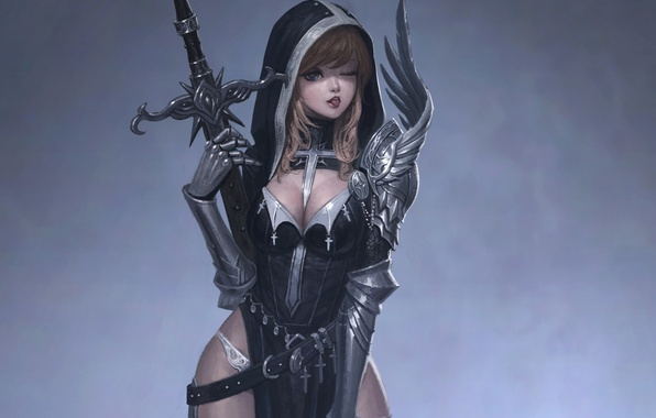 Picture language, crosses, sword, armor, hood, neckline, gloves, grey background, wink, the girl-soldier, flirting