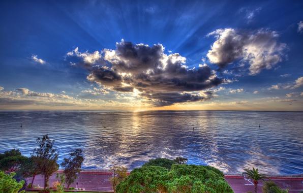 Picture road, sea, the sky, the sun, clouds, rays, trees, coast, HDR, horizon, promenade, Monaco