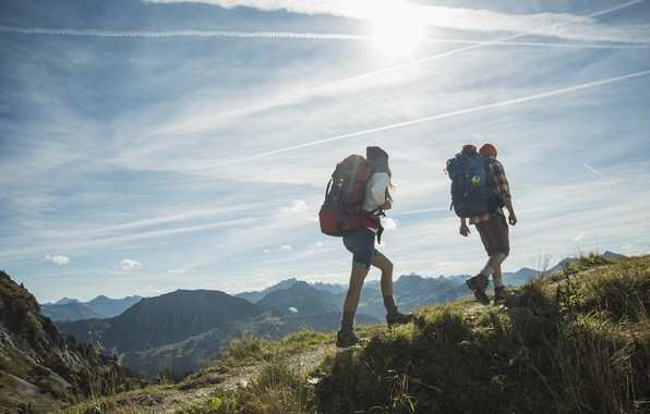 Picture girl, mountains, France, guy, journey, backpacks, Chambery