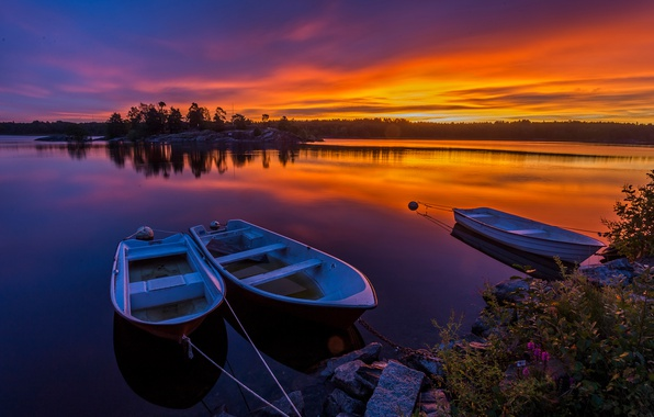 Picture forest, the sky, sunset, river, stones, shore, boats, the evening, Sweden, the bushes