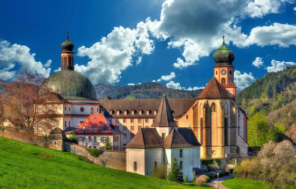 Picture clouds, Germany, the monastery, Germany, Baden-Württemberg, Baden-Württemberg, Abbey, Munstertal, Muenstertal, St. Trudpert Abbey