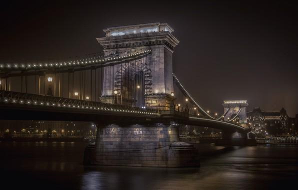Picture night, lights, river, Hungary, Budapest, The Danube, Chain bridge