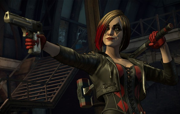 Picture The game, Gun, Hair, Gloves, Weapons, Hammer, Corset, Gun, Gun, Harley Quinn, Game, Weapon, DC …