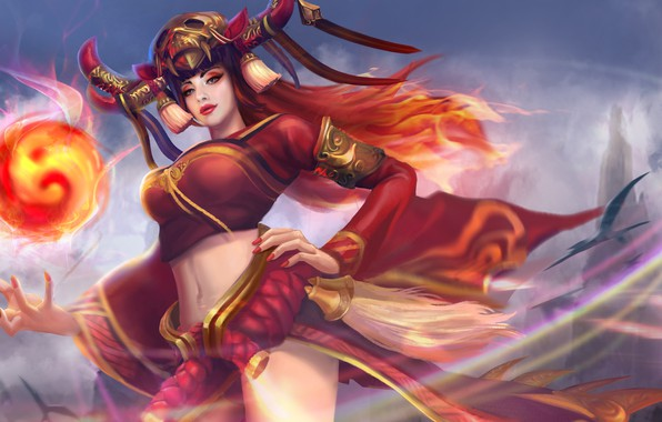Picture girl, hon, art, Heroes of Newerth, Tarot, Onmyoji Tarot
